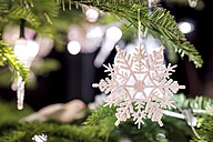 Fir branch with white Christmas decoration - PUF00782