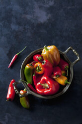 Bowl of various organic bell peppers and chili peppers on dark ground - CSF28356