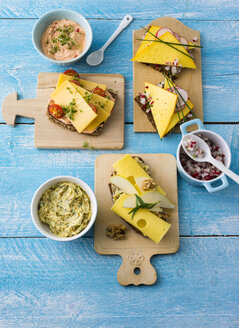 Garnished sandwiches with spread  and cheese - PPXF00087