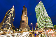 Germany, Berlin, Potsdamer Platz, illuminated skyscrapers - WDF04166