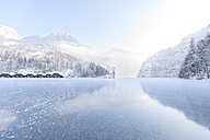 Germany, Berchtesgadener Land, view to frozen Lake Koenigssee and Berchtesgaden Alps - MMAF00151