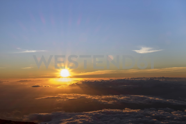 USA, Hawaii, Big Island, Haleakala National Park, sunset - HLF01039
