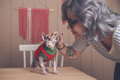 Young woman petting her Sphynx cat wearing pullover - RTBF01067