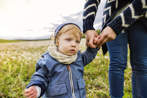 Cute little boy with mother on meadow - HAPF02323
