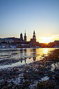 Germany, Saxony, Dresden, city view during sunset, Elbe river - PUF00841