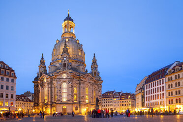 Germany, Saxony, Dresden, Church of our lady, blue hour - PUF00844