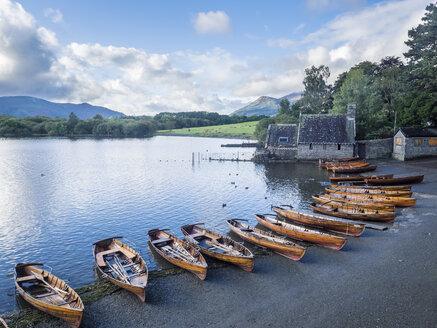 Great Britain, England, Lake District National Park, Keswick, lake, rowing boats - STSF01321