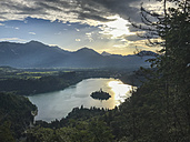 Slovenia, Bled, Aerial view of the lake at sunrise - LOMF00637