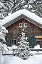 Austria, Altenmarkt-Zauchensee, Christmas tree at wooden house in snow - HHF05511
