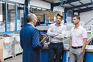 Business people having a meeting in company shop floor - DIGF02971