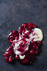 Red fruit compote with vanilla sauce on dark background - CSF28390