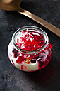 Red fruit jelly in a glass with vanilla sauce - CSF28396