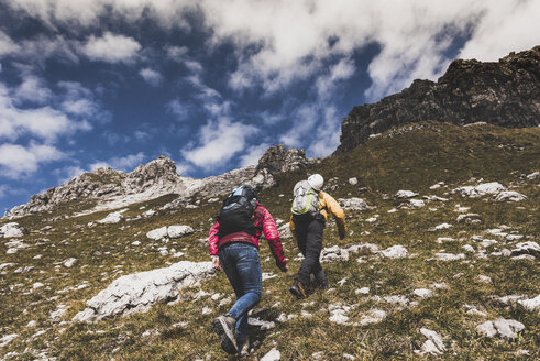 Germany, Bavaria, Oberstdorf, two hikers walking up alpine meadow - UUF12146