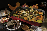 Preparing vegan oven vegetables with pumpkin and pears - CSTF01407