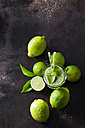 Organic green limes on dark background - CSF28481