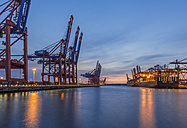Germany, Hamburg, Waltershof, Container harbour in the evening - KEBF00645