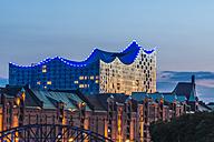 Germany, Hamburg, Speicherstadt and Elbe Philharmonic Hall, Blue Port - KEBF00648