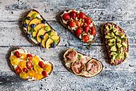 Different sandwiches, strawberry, fig, nectarine, avocado, tomato - SARF03402