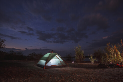 Illuminated tent at night - VPIF00263