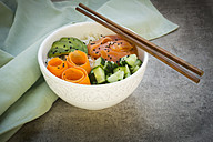 Sushi-Bowl with salmon, cucumber, avocado, rice and carrot - LVF06386