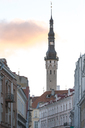 Estonia, Tallinn, Old town, town hall tower in the evening - CSTF01461