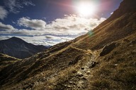Germany, Allgaeu Alps, man on mountain trail - MALF00001