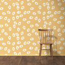 Wallpaper with fried egg pattern, wood chair and wooden floor, 3D Rendering - UWF01295