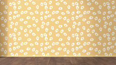 Wallpaper with fried egg pattern and wooden floor, 3D Rendering - UWF01298