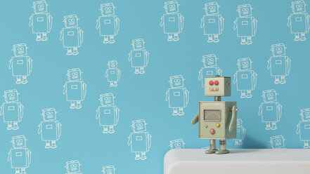 Male robot on sideboard in front of patterned wall paper, 3D rendering - UWF01301