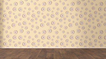 Wallpaper with doughnut pattern and wooden floor, 3D Rendering - UWF01304