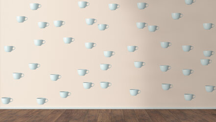 Wallpaper with cup pattern and wooden floor, 3D Rendering - UWF01310