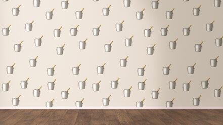 Wallpaper with champagne cooler pattern and wooden floor, 3D Rendering - UWF01313
