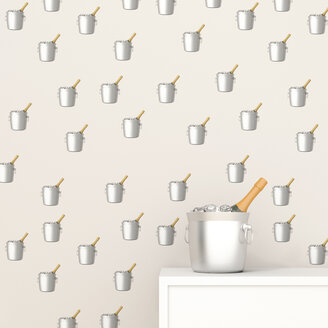 Champagne bottle in cooler in front of wallpaper with champagne cooler pattern, 3D Rendering - UWF01316