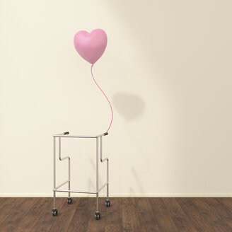 Wheeled walker and pink balloon in a waiting room, 3D rendering - UWF01319