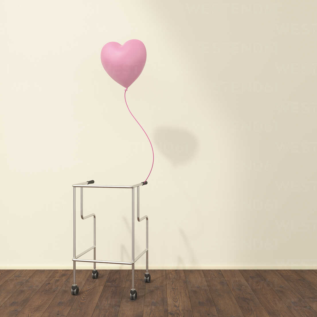 Wheeled walker and pink balloon in a waiting room, 3D rendering - UWF01319 - HuberStarke/Westend61