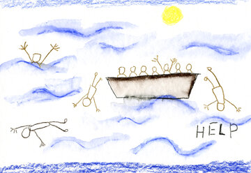 Children's drawing of people on boat in distress at sea - CMF00730