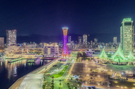 Japan, Kobe, Seaport and Kobe Port Tower at night - THAF02046