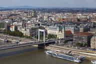 Hungary, Budapest, cityscape of Pest Side, Danube river waterfront with Elisabeth Bridge - ABOF00307