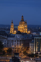 Hungary, Budapest, cityscape with lit up St. Stephen's Basilica at night - ABOF00319