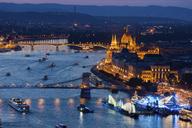 Hungary, Budapest, evening cityscape along Danube River - ABOF00328