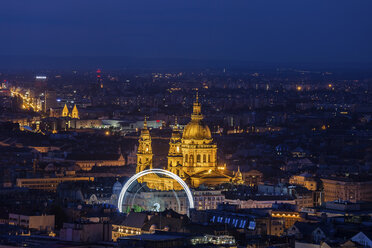 Hungary, Budapest, city at night, Pest cityscape with lit up St. Stephen's Basilica and Ferris Wheel - ABOF00331