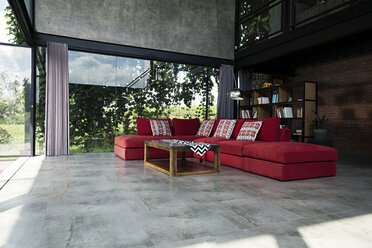 Red couch in modern design room - SBOF00874