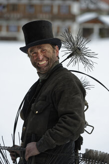 Germany, portrait of chimney sweep with top hat - LBF01704