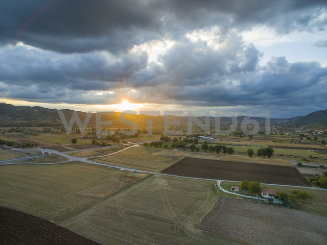 Italy, Umbria, Gubbio, Aerial view of fields in the countryside in Autumn - LOMF00670