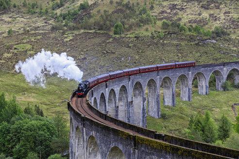Great Britain, Scotland, Scottish Highlands, Glenfinnan, Glenfinnan Viaduct, West Highland Line, Steam engine The Jacobite - FO09410