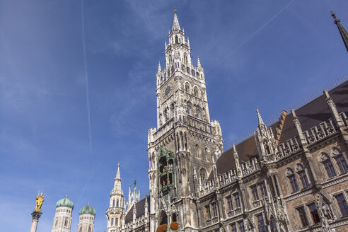 Germany, Bavaria, Munich, Marian column and Frauenkirche and new town hall - MMAF00201