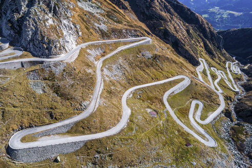 Switzerland, Tessin, Tremola, Aerial view of Gotthard Pass - STSF01386
