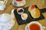 Cornish cream tea, scones, strawberry jam and clotted cream - SIEF07591