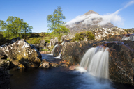 Great Britain, Scotland, Scottish Highlands, Glen Etive, Mountain massif Buachaille Etive Mor with Mountain Stob Dearg, River Coupall, Etive Mor Waterfall - FOF09452