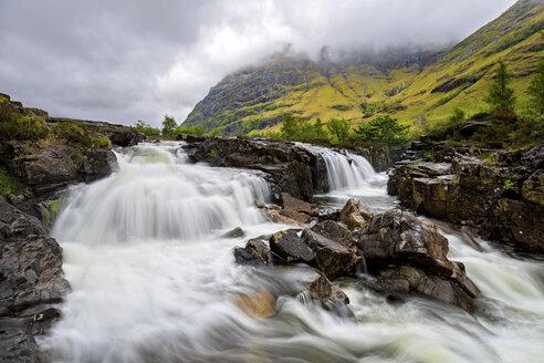 Great Britain, Scotland, Scottish Highlands, Glencoe, Clachaig Falls and Mountain Aonach Dubh - FOF09470